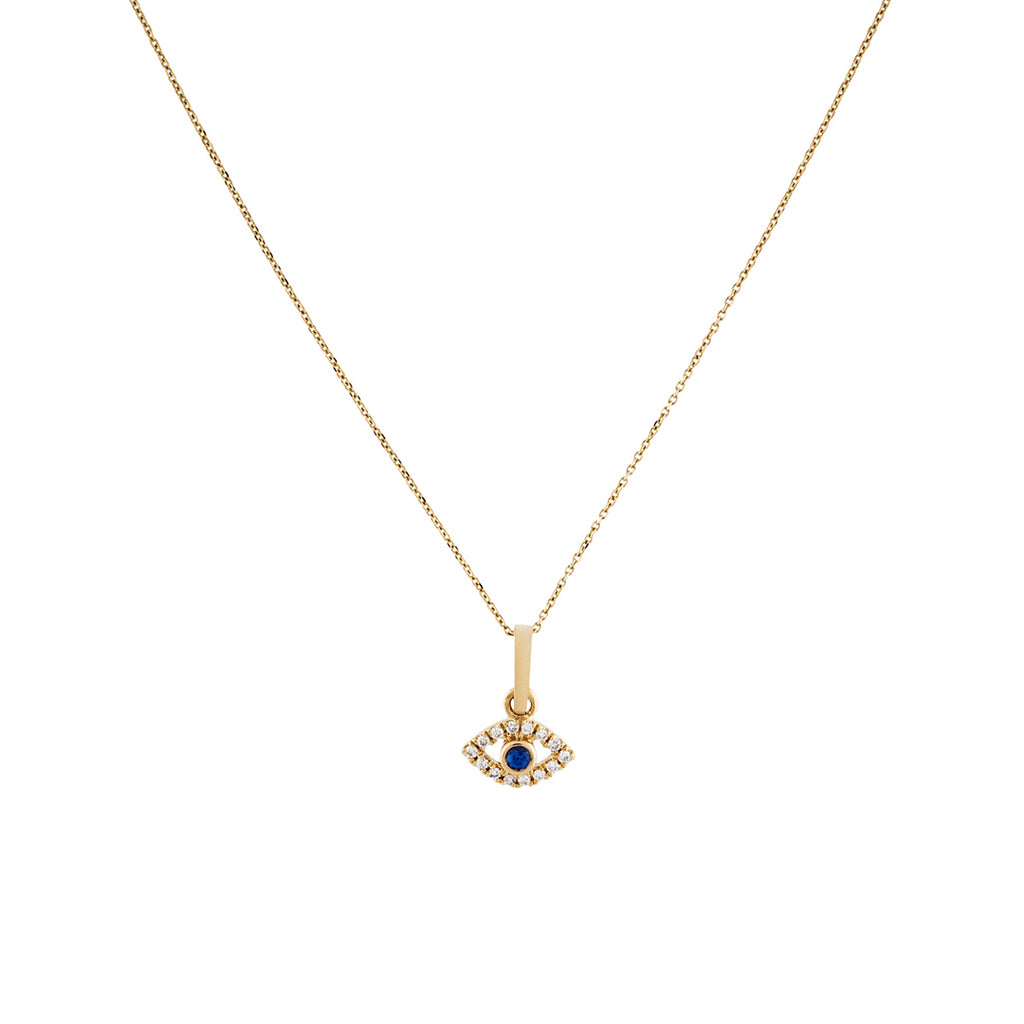Diamond Evil Eye Necklace 14k gold diamond