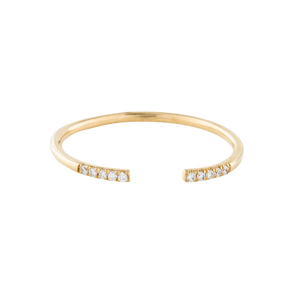 Diamond Tips Open Band Ring 14k gold