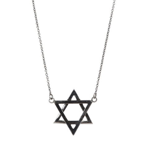 ADORNIA Black Rhodium Sterling Silver Star No. 263 Convertible Star of David Necklace