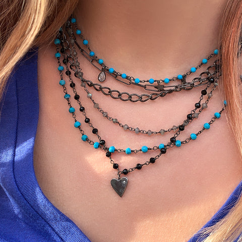 Messy Layered Necklace with Labradorite and Turquoise