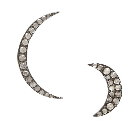 Prince Mismatched Diamond Crescent Moon Stud Earrings silver