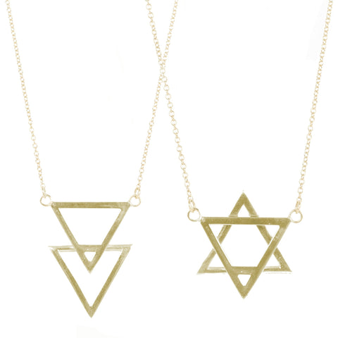 Jewish Star Necklace silver gold