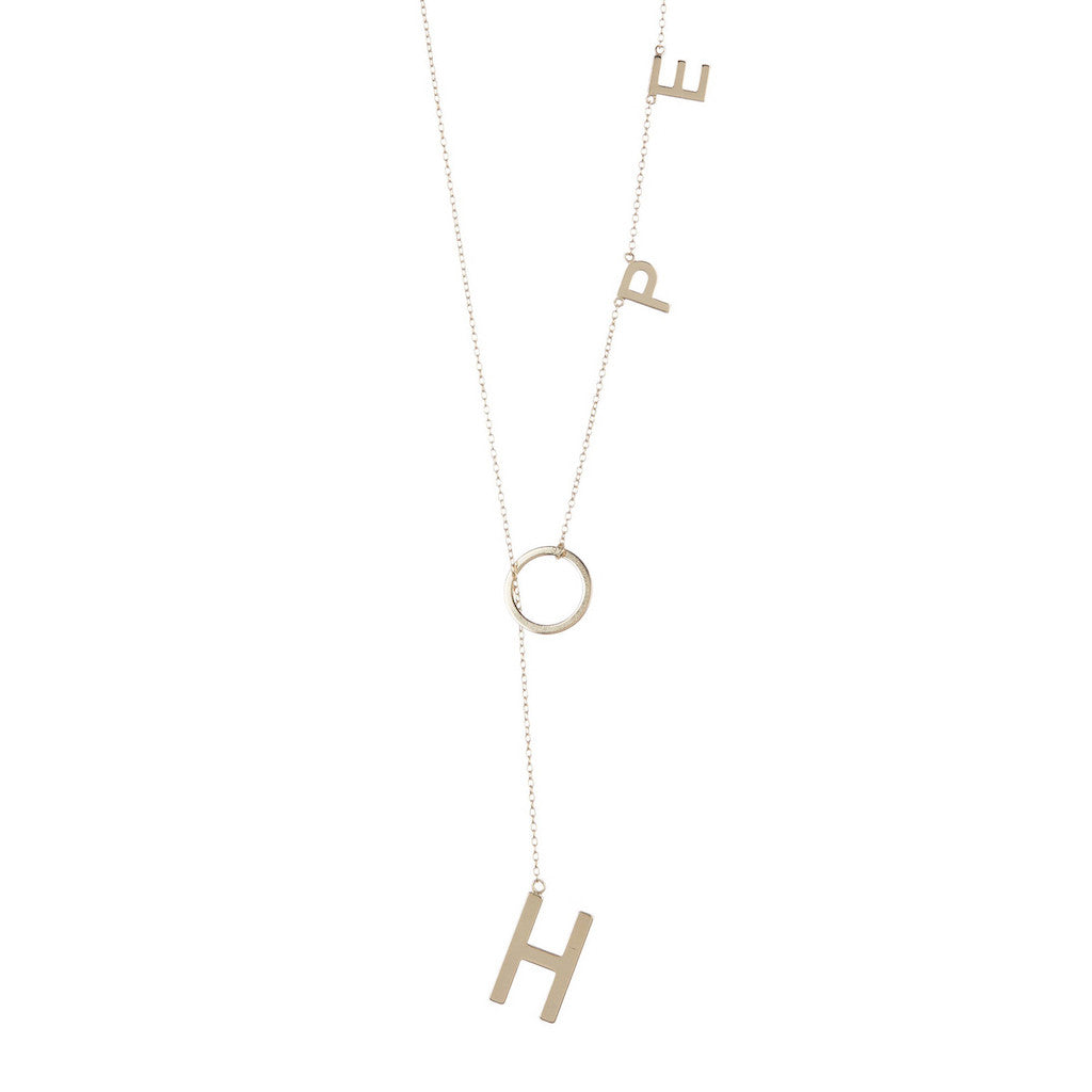 Hope Lariat Necklace silver gold rose gold