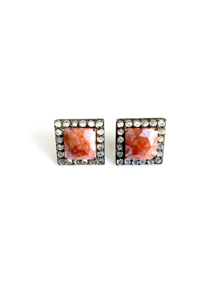 Ruby Square Halo Stud Earrings silver