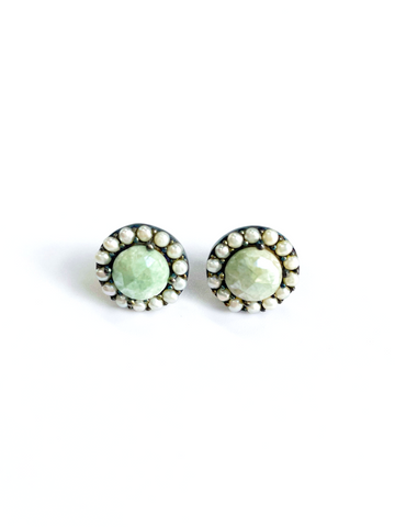 Floral Halo Stud Earrings green agate freshwater pearl silver
