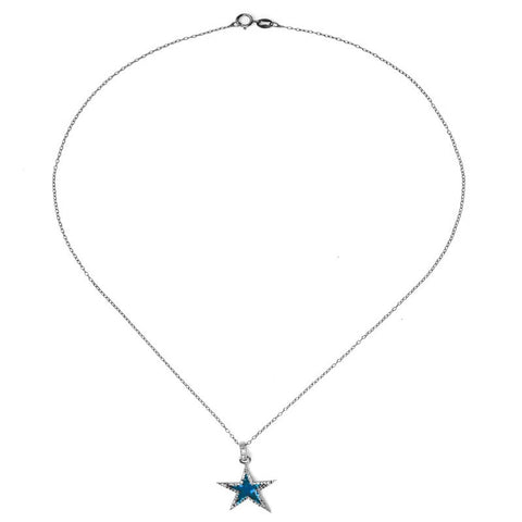 Star Blue Enamel Diamond Necklace silver