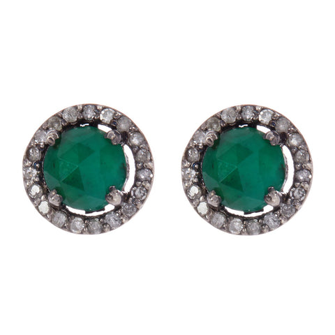 Mini Echo Emerald Diamond Halo Studs emerald silver