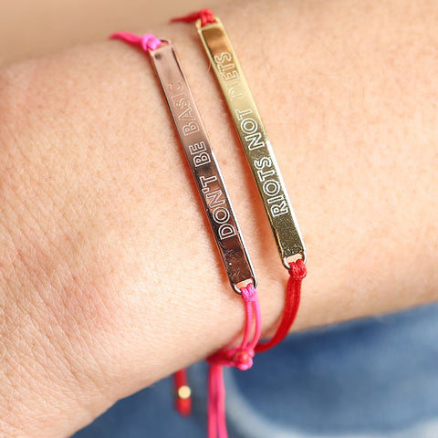 Riots Not Diets ID String Bracelet