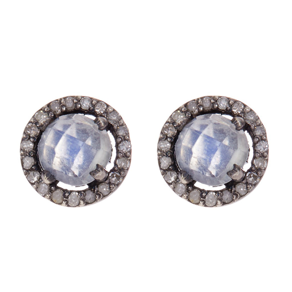 Mini Halo Studs moonstone