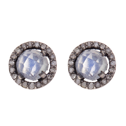 Mini Echo Moonstone Diamond Halo Studs moonstone silver