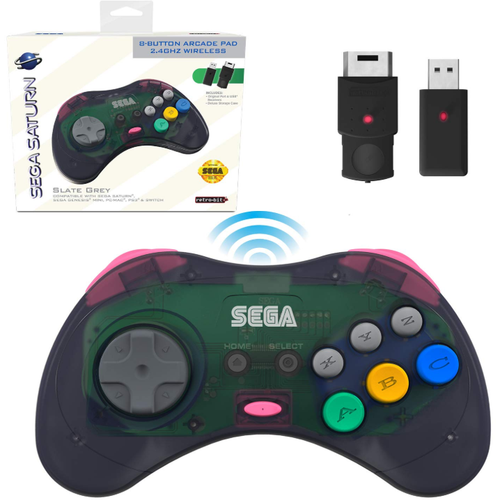 SEGA Saturn® 8-Button Arcade Pad - 2.4 GHz Wireless - Slate Grey - CastleMania Games
