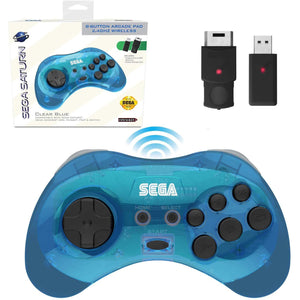 SEGA Saturn® 8-Button Arcade Pad - 2.4 GHz Wireless - Clear Blue - CastleMania Games