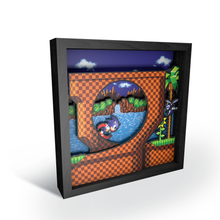 "Load image into Gallery viewer, Pixel Frames – Sonic the Hedgehog: Loop Scene 9""x9"" - CastleMania Games"