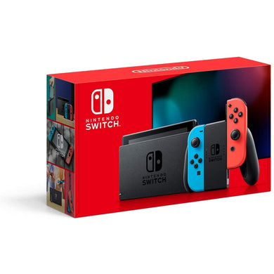 NINTENDO SWITCH CONSOLE WITH NEON BLUE AND NEON RED JOY-CON