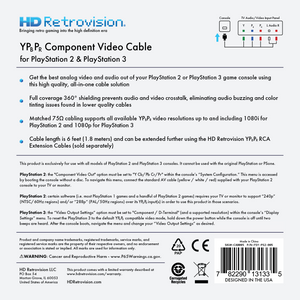 HD Retrovision PS2 PS3 Premium YPbPr Component Video Cable - CastleMania Games