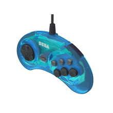 Load image into Gallery viewer, Retro-Bit Official Sega Genesis Controller 6-Button Arcade Pad - Clear Blue - CastleMania Games