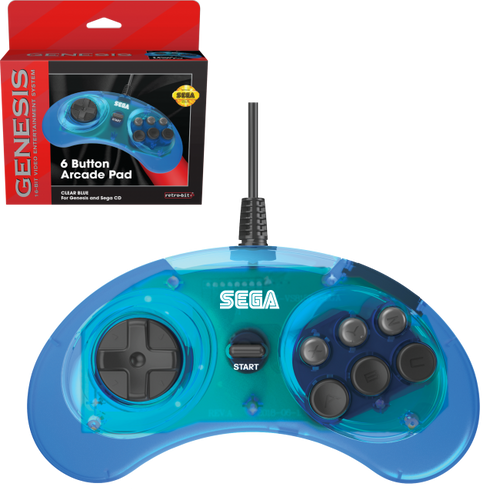 Retro-Bit Official Sega Genesis Controller 6-Button Arcade Pad - Clear Blue - CastleMania Games