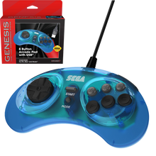 Load image into Gallery viewer, Retro-Bit Official SEGA Genesis USB 8-button Arcade Pad - Transparent Blue - CastleMania Games