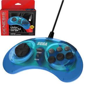 Retro-Bit Official SEGA Genesis USB 8-button Arcade Pad - Transparent Blue - CastleMania Games