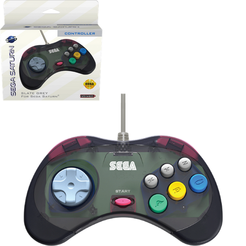 Retro-Bit Official Sega Saturn Controller - Slate Gray (transparent) - CastleMania Games