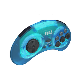 SEGA Genesis 8-Button Arcade Pad - 2.4 GHz Wireless - Clear Blue