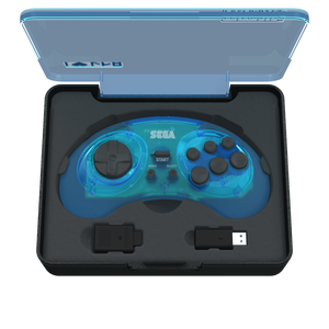 SEGA Genesis 8-Button Arcade Pad - 2.4 GHz Wireless - Clear Blue - CastleMania Games