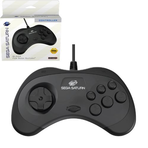 Retro-Bit Official Sega Saturn Controller - Black - CastleMania Games