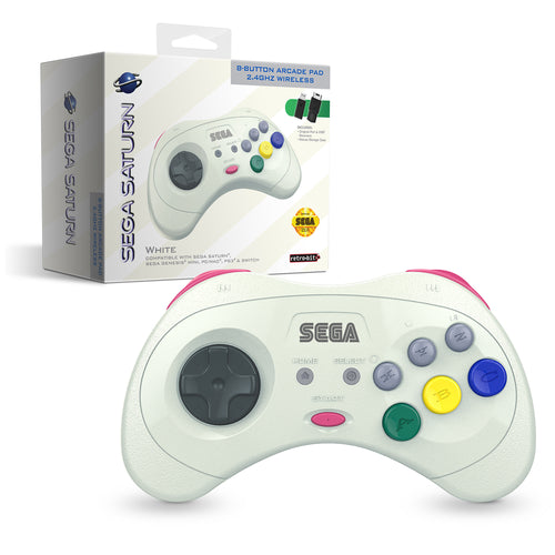 SEGA Saturn® 8-Button Arcade Pad - 2.4 GHz Wireless - White - CastleMania Games