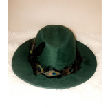 BIRDS OF PARADISE - Forest Green Felt Unisex Custom Peacock Feather Fedora - 57cm (HAT STACKS EXCLUSIVE)