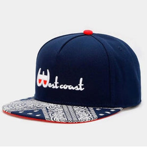 WESTCOAST Navy Bandana Brim Snap Back Cap Hat