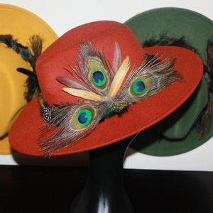 Birds Of Paradise Burnt Orange Feather Fedora Hat