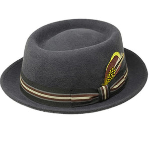 BIVEN -100% Wool Felt Gray Porkpie Feather Hat (Feather Removable)