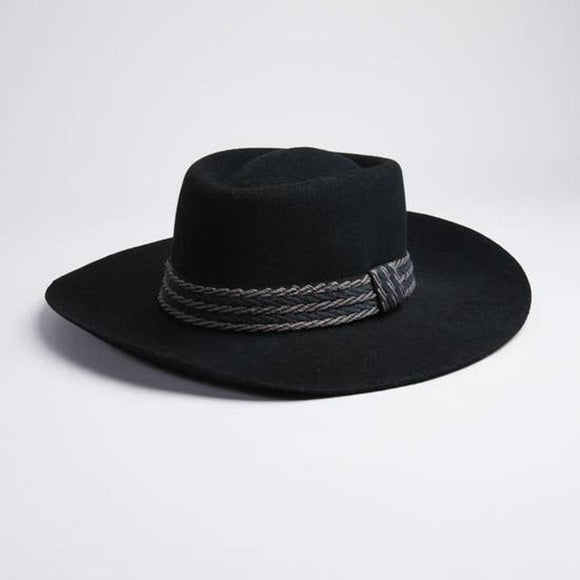 WARD - Wide Brim Black Felt Fedora Hat
