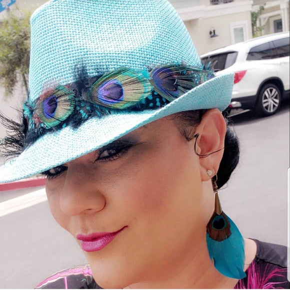 BIRDS OF PARADISE - Unisex Custom Turquoise Panama Straw Peacock Feather Trilby Fedora - 58cm (HAT STACKS EXCLUSIVE)