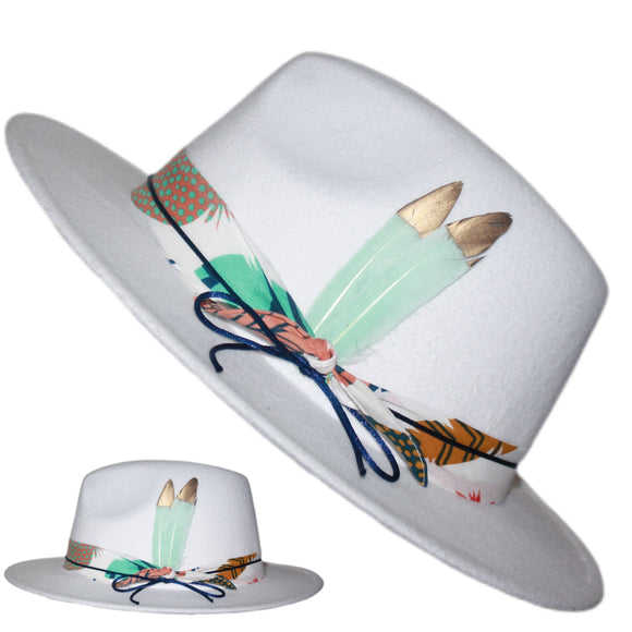 BIRDS OF PARADISE - White Custom Feather Fedora With Boho Multicolor Feather Print Band