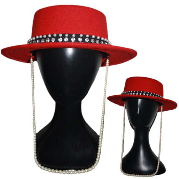 BON'JOURNEE - Red Boater Fedora With Pearl Rhinestone Band and Pearl Chain