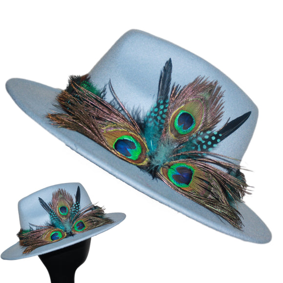 BIRDS OF PARADISE - Peri Blue Unisex Custom Peacock Feather Fedora Hat