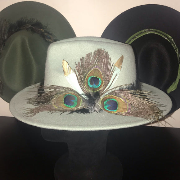 BIRDS OF PARADISE - Malted Mint Unisex Custom Peacock Feather Fedora  (HAT STACKS EXCLUSIVE)