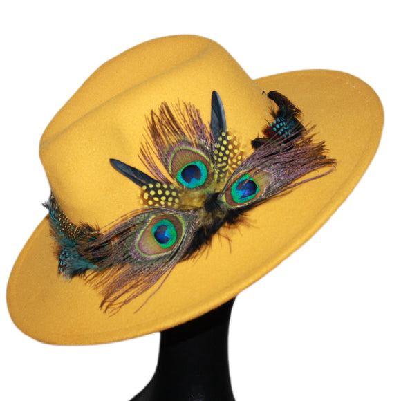 BIRDS OF PARADISE - Yellow Unisex Custom Peacock Feather Fedora