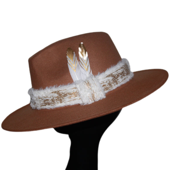 FURSONA -  Caramel Brown Feather Faux Fur Fedora
