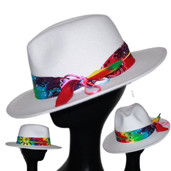 JOY - White Tie Dye Rainbow Fedora Hat