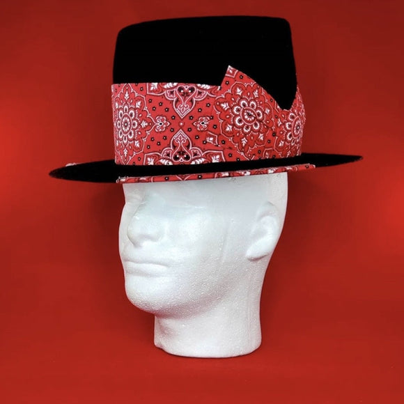 PIRU - Hand Made Wool Felt Rockers Pork Pie Hat With Red Paisley Bandana Band