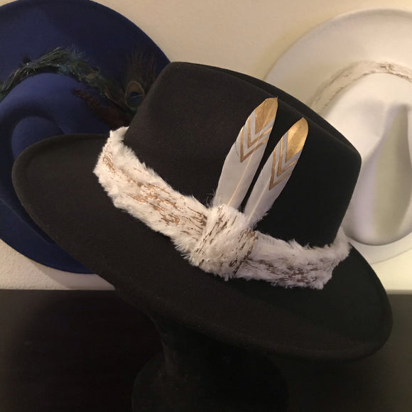 FURSONA - Black Feather Faux Fur Fedora