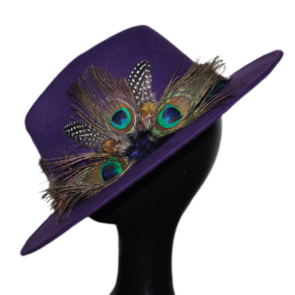 BIRDS OF PARADISE - Purple Custom Peacock Feather Fedora  (HAT STACKS EXCLUSIVE)