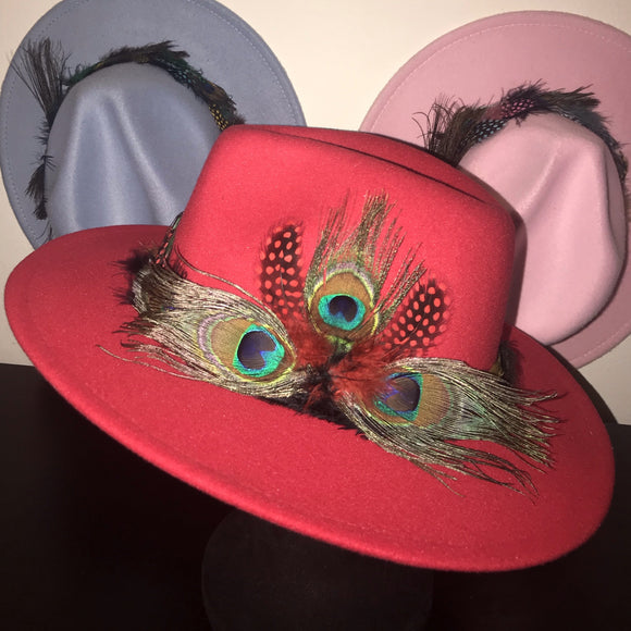 BIRDS OF PARADISE - Red Unisex Custom Peacock Feather Fedora