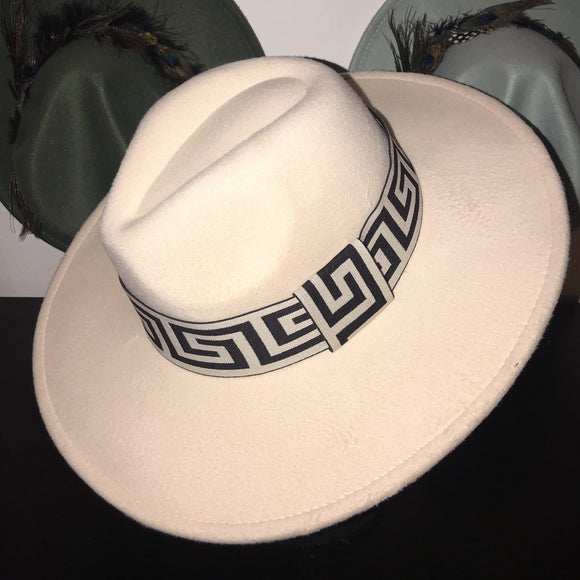 ROVE - Cream White Wide Brim Tear Drop Dome Fedora Hat With Meander Print Band 57-59cm
