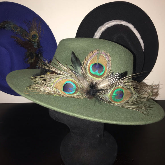 BIRDS OF PARADISE - Olive Green Felt Unisex Custom Peacock Feather Fedora - 57cm (HAT STACKS EXCLUSIVE)