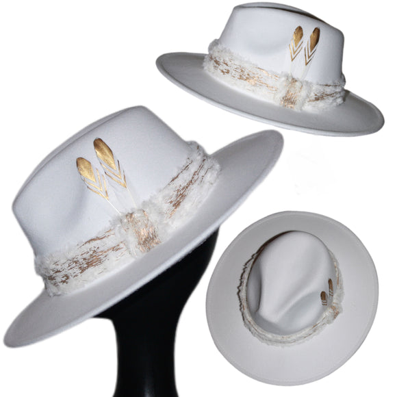 FURSONA -  White Feather Faux Fur Fedora