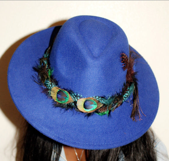 BIRDS OF PARADISE - Royal Blue Felt Unisex Custom Peacock Feather Fedora - 57 & 59cm (HAT STACKS EXCLUSIVE)