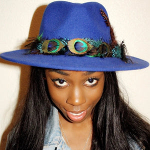 BIRDS OF PARADISE - Royal Blue Felt Unisex Custom Peacock Feather Fedora - 57cm (HAT STACKS EXCLUSIVE)